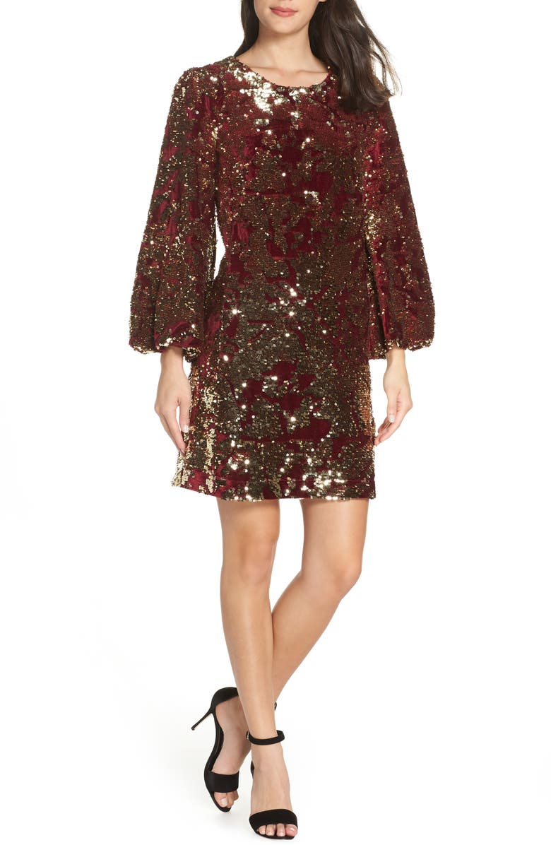 FRENCH CONNECTION Ethel Sequin Shift, Main, color, DEEP FRAMBOISE/ GOLD