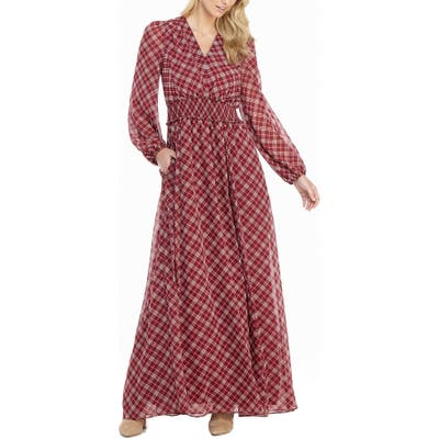 Petite Gal Meets Glam Collection Robyn Plaid Long Sleeve Chiffon Maxi Dress, Red