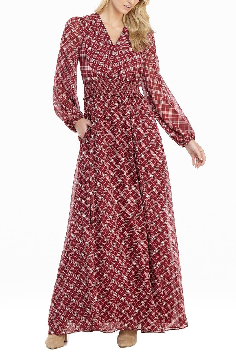 GAL MEETS GLAM COLLECTION Robyn Plaid Long Sleeve Chiffon Maxi Dress, Main, color, RED