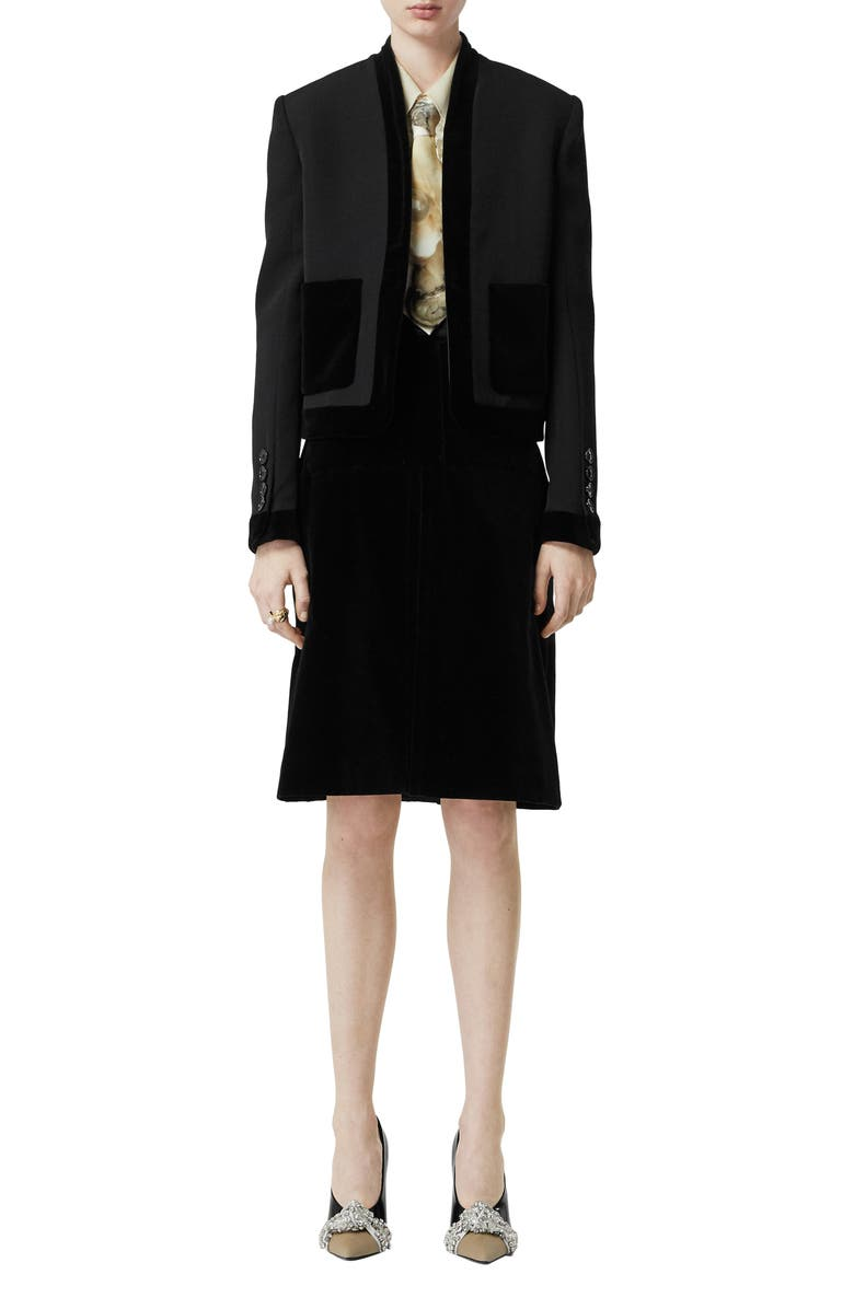 BURBERRY Velvet Trim Crop Jacket, Main, color, BLACK