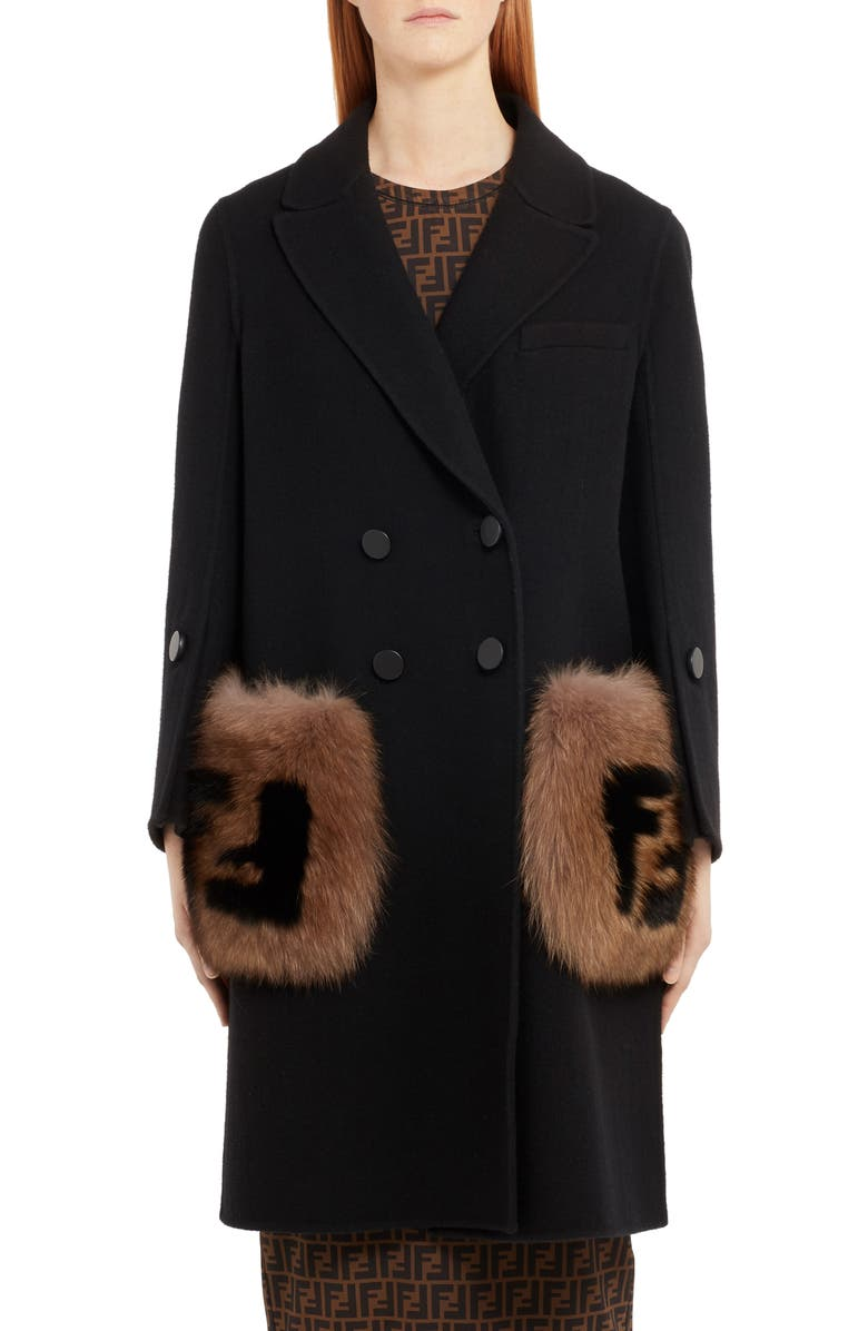 FENDI Double Breasted Wool Coat with Genuine Fox Fur Logo Pockets, Main, color, BLACK