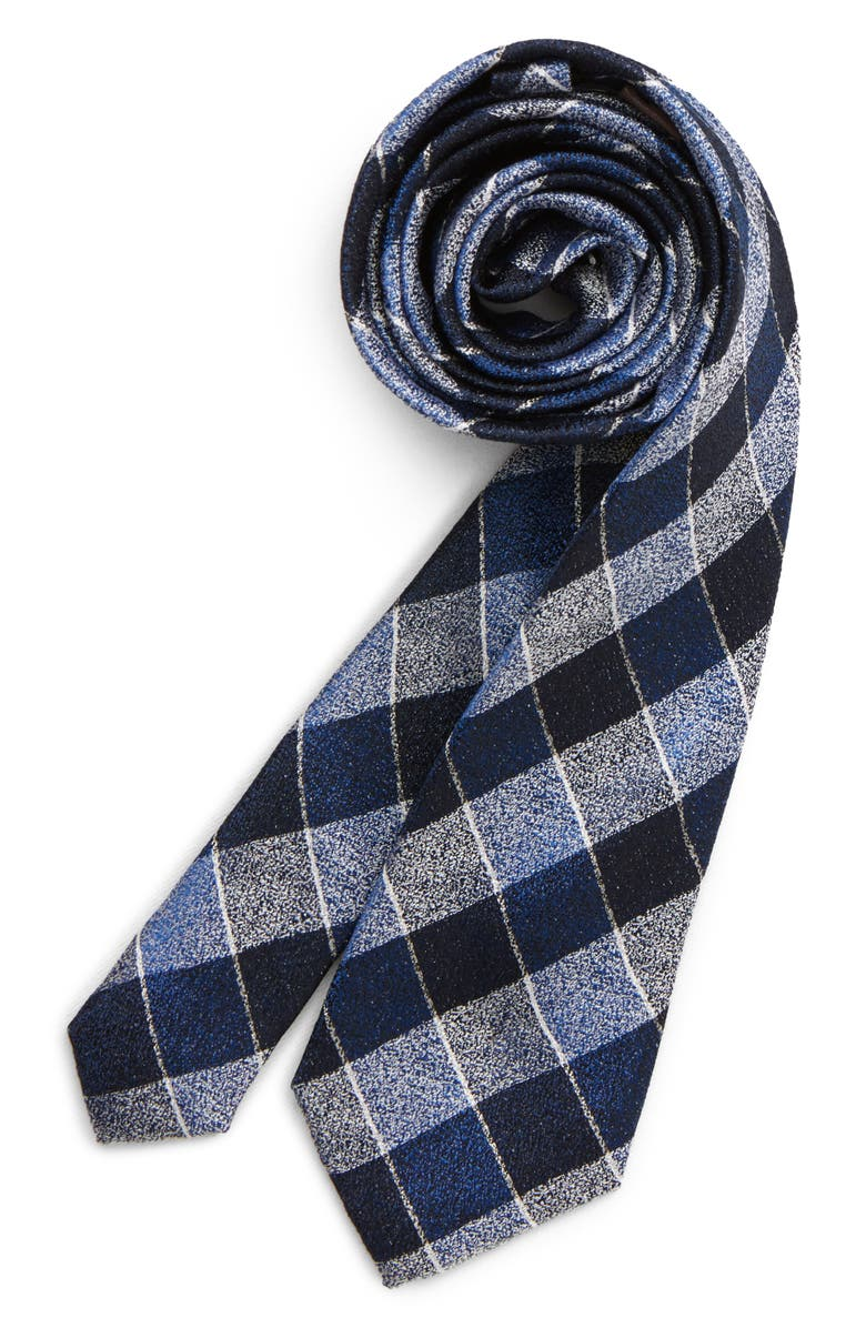 MICHAEL KORS Check Silk Tie, Main, color, NAVY