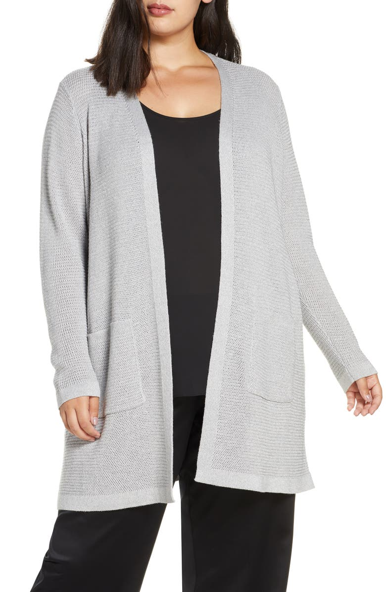 EILEEN FISHER Shimmer Merino Wool Blend Straight Long Cardigan, Main, color, DARK PEARL