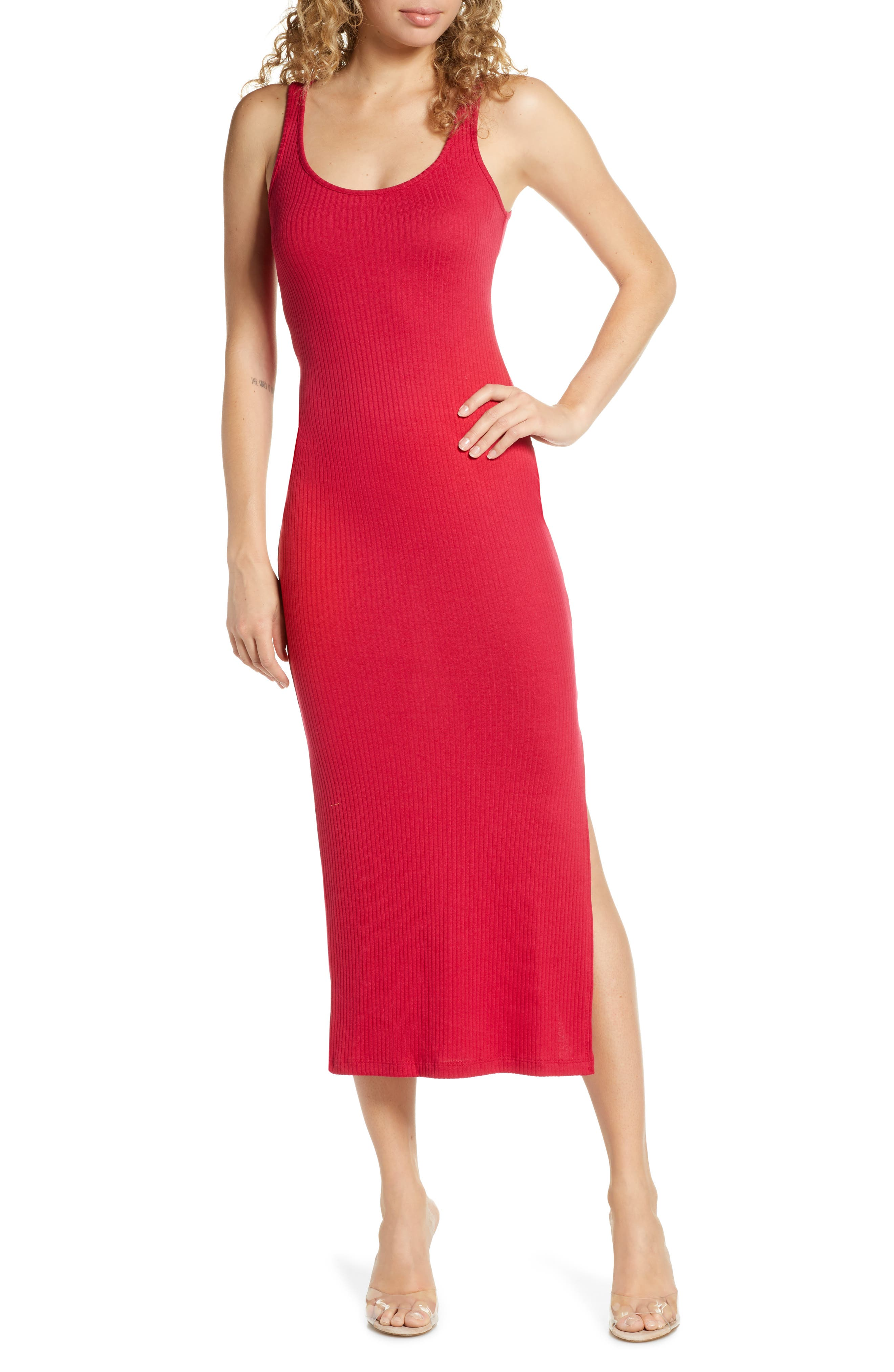 French Connection Tommy Rib Midi Dress, Red