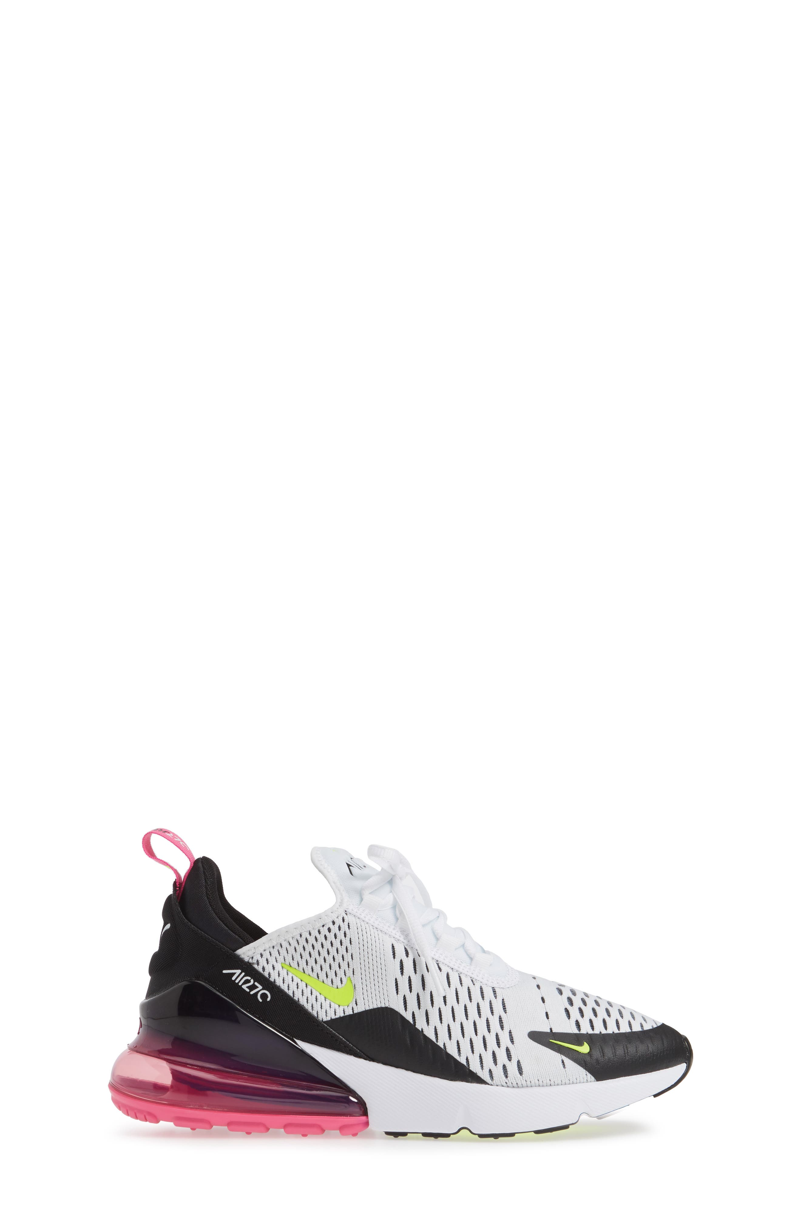 ,                             Air Max 270 Sneaker,                             Alternate thumbnail 3, color,                             WHITE/ VOLT-BLACK-FUCHSIA
