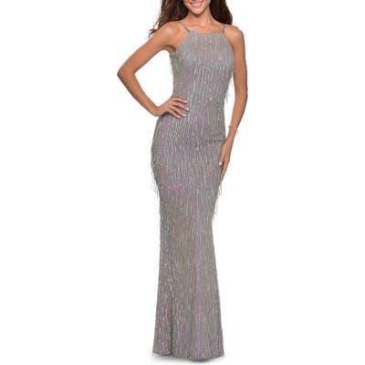 La Femme Sequin Fringe Open Back Gown, Grey