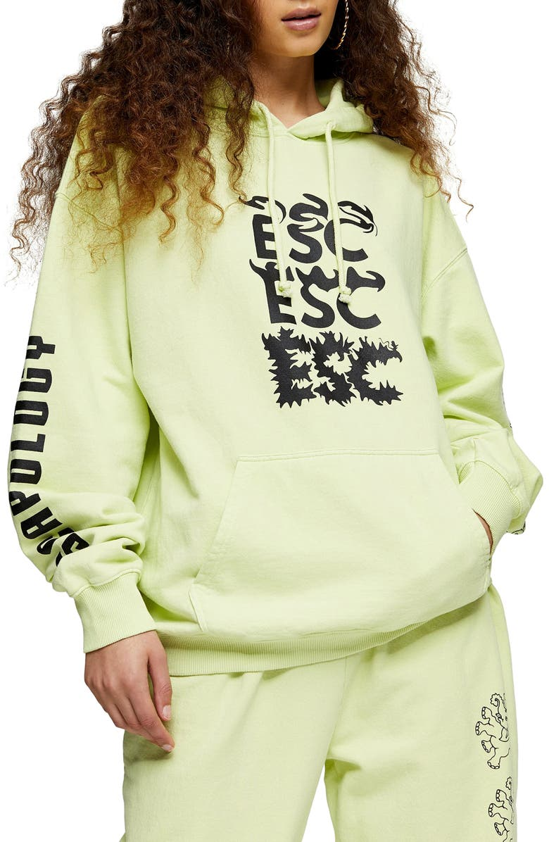 TOPSHOP Elephant Hoodie, Main, color, YELLOW
