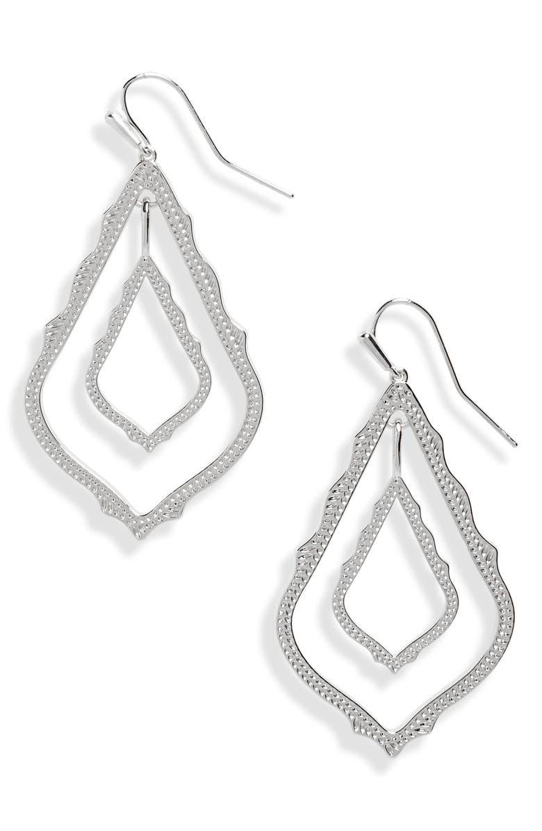 KENDRA SCOTT Simon Drop Earrings, Main, color, RHODIUM