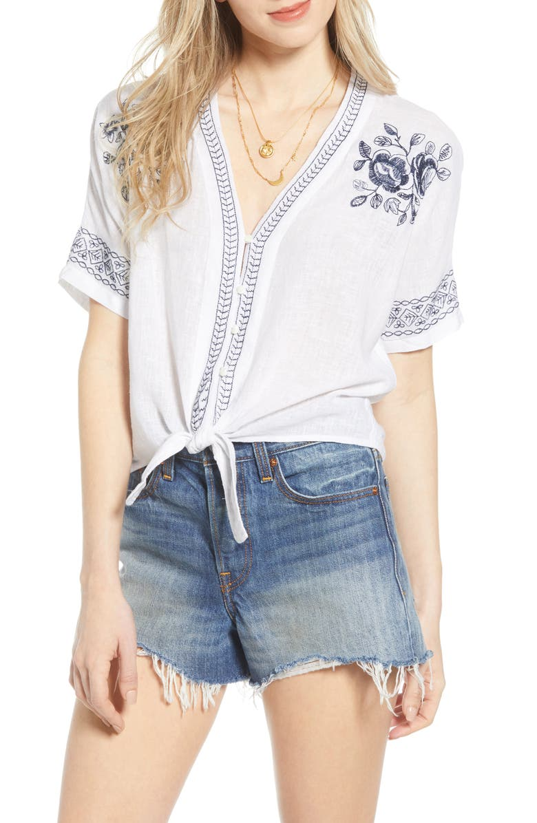 RAILS Thea Tie Hem Shirt, Main, color, WHITE BLUE FLORAL EMBROIDERY