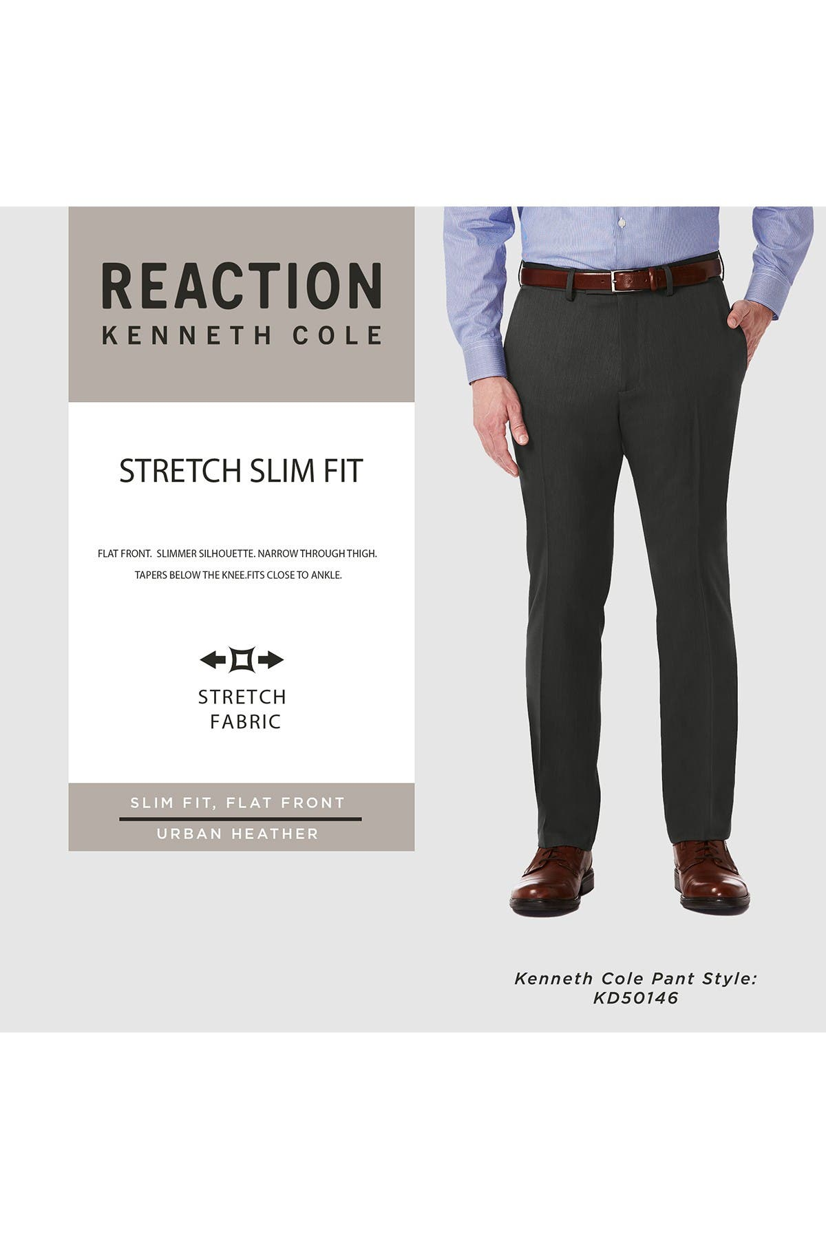 Kenneth Cole REACTION Mens Urban Heather Slim Fit Flat Front Dress Pant