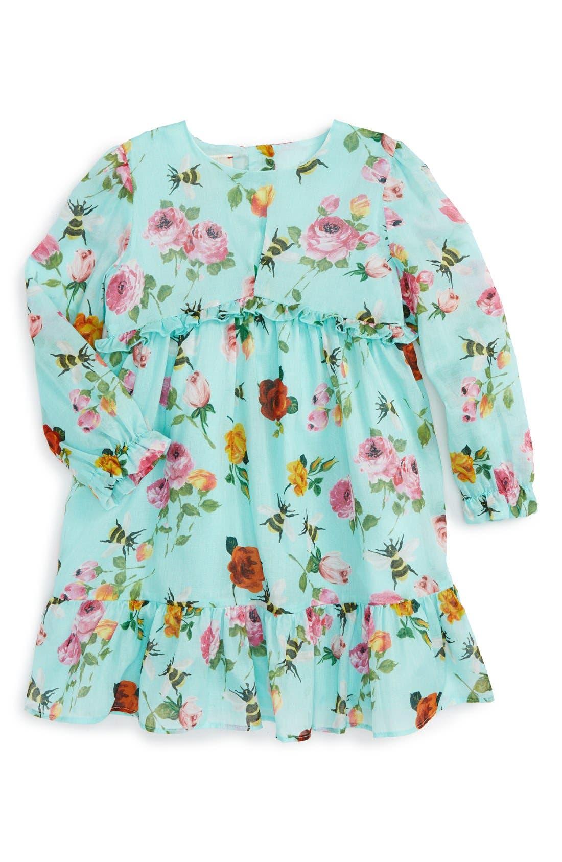 Floral Print Long Sleeve Dress, Main, color, 440