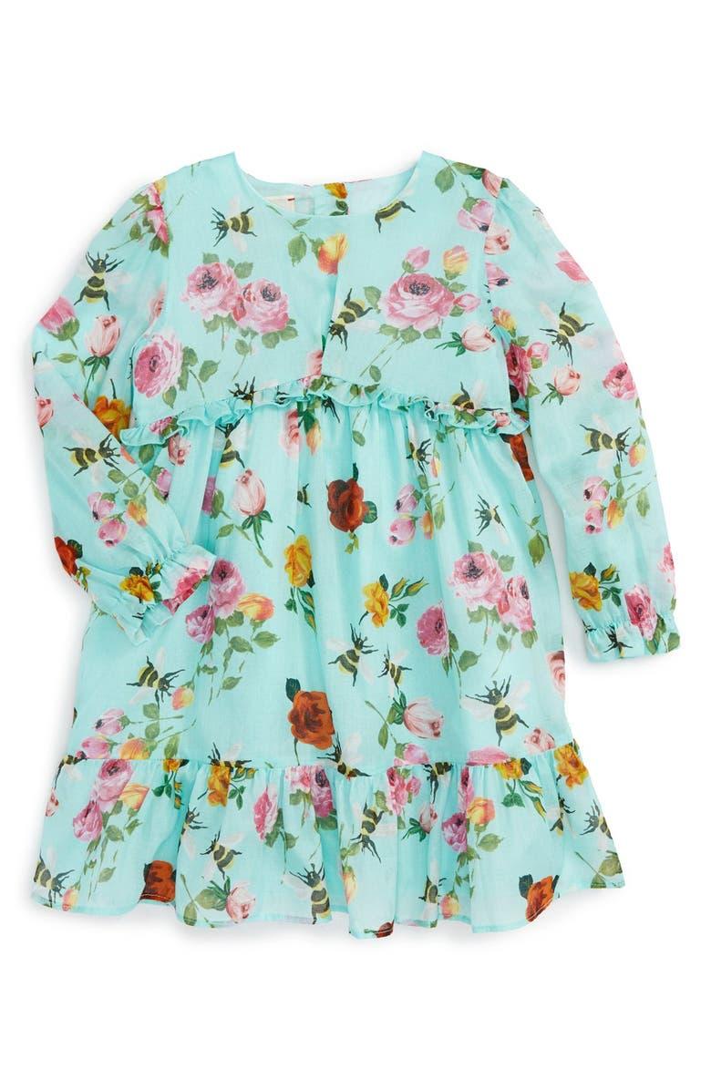 GUCCI Floral Print Long Sleeve Dress, Main, color, 440