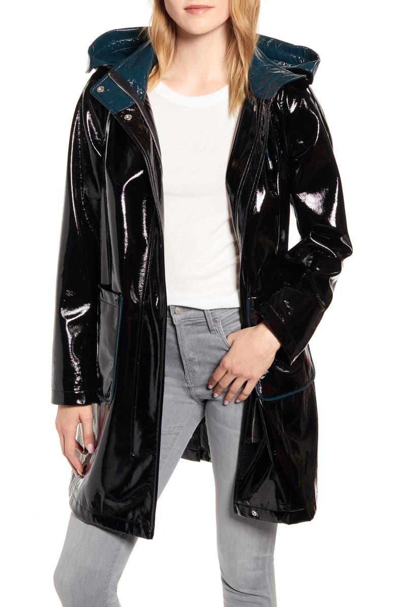 SAM EDELMAN Contrast Hood Glossy Raincoat, Main, color, BLACK