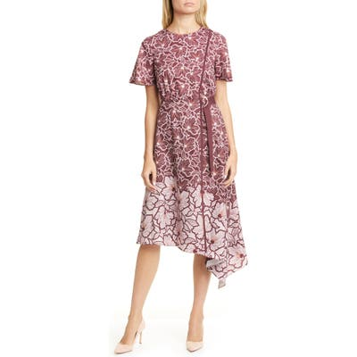 Ted Baker London Indigoo Amber Floral Asymmetrical Dress, (fits like 0-2 US) - Purple