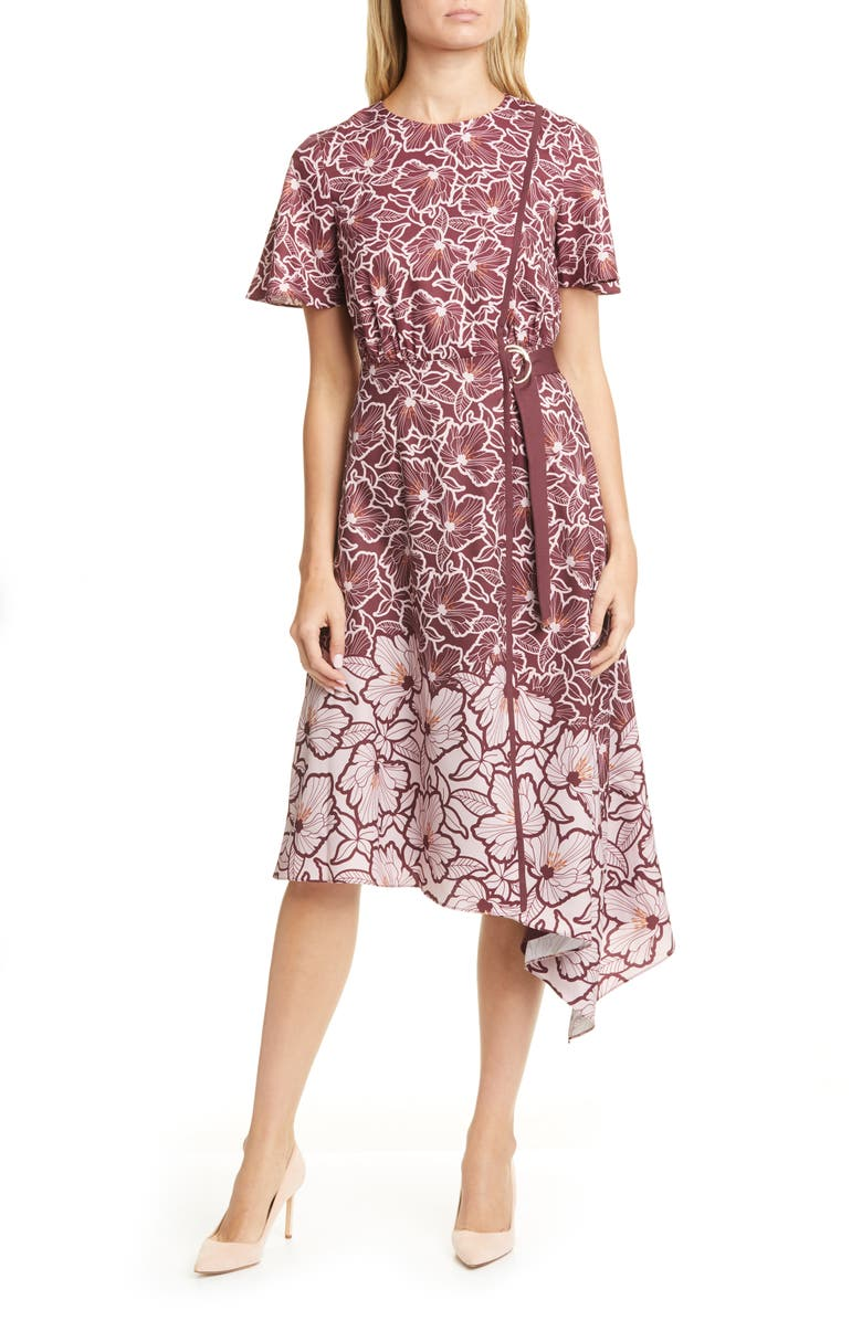 TED BAKER LONDON Indigoo Amber Floral Asymmetrical Dress, Main, color, 501