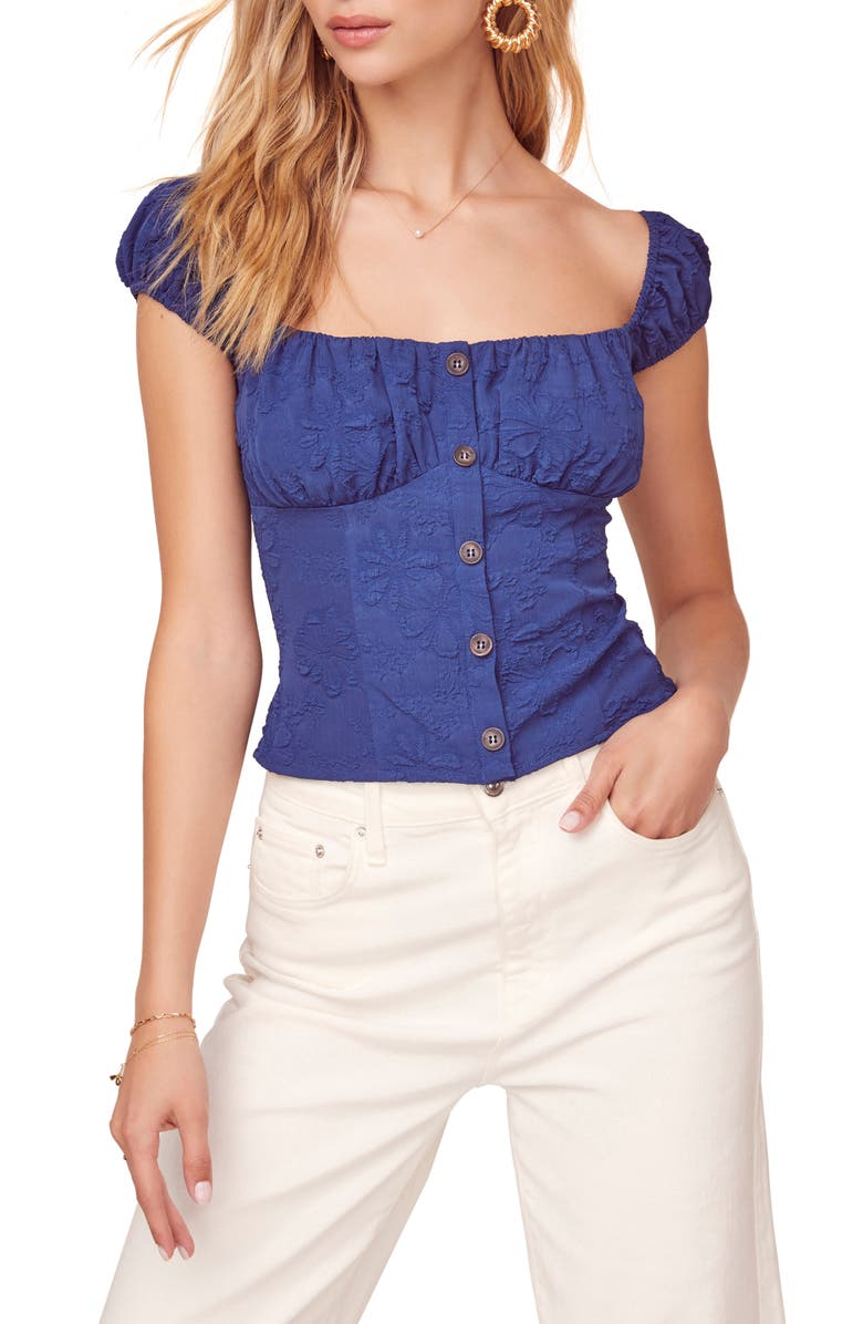 ASTR THE LABEL Billie Jean Front Button Top, Main, color, NAVY