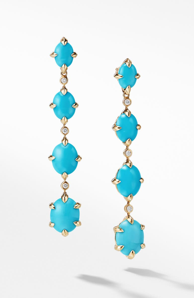 DAVID YURMAN Chatelaine<sup>®</sup> 18k Gold Drop Earrings with Diamonds, Main, color, GOLD/ DIAMOND/ TURQUOISE