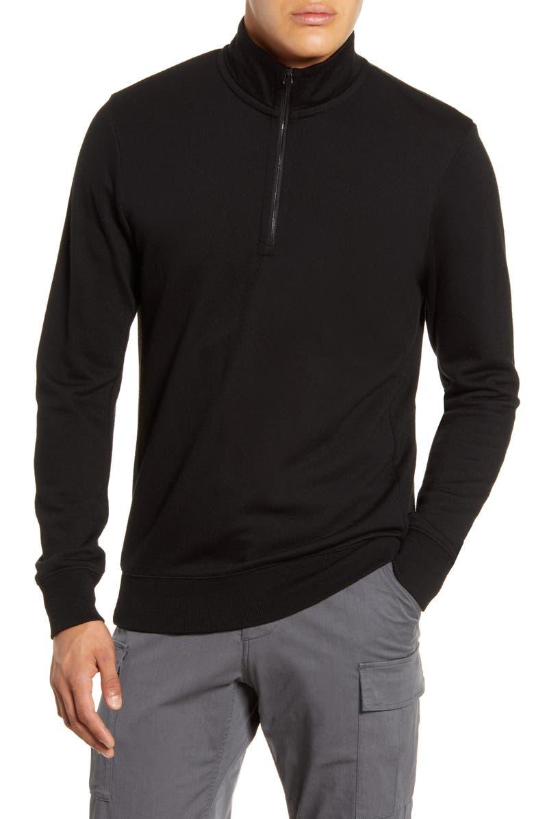 WINGS + HORNS Wool Half Zip Pullover, Main, color, BLACK