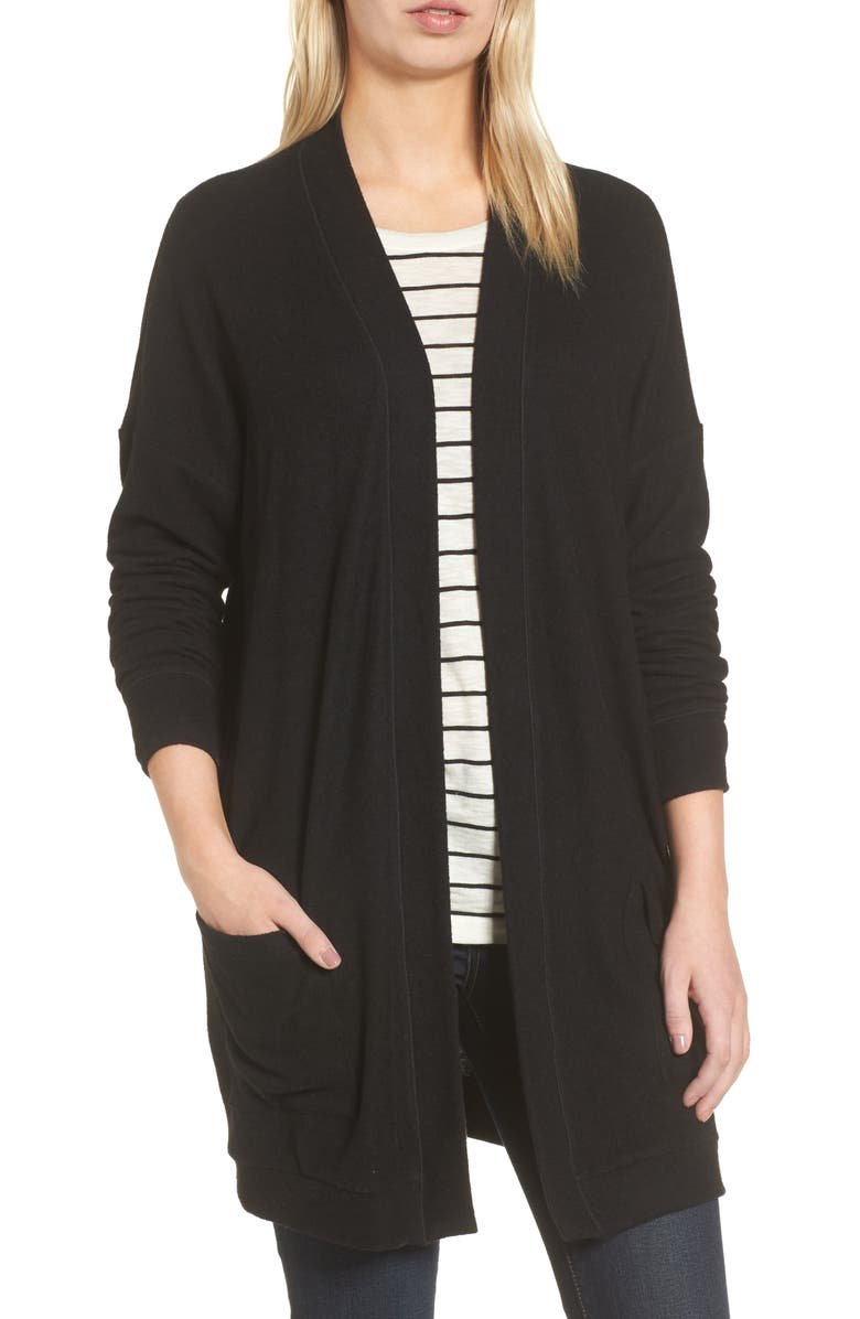 GIBSON Rib Knit Cardigan, Main, color, 001