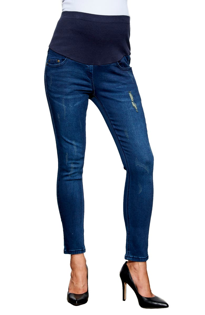 MATERNAL AMERICA Over the Bump Maternity Ankle Jeans, Main, color, CLASSIC WASH
