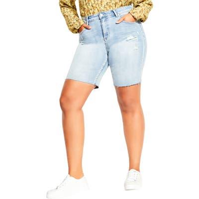 Plus Size City Chic Slim Denim Boyfriend Shorts, Blue