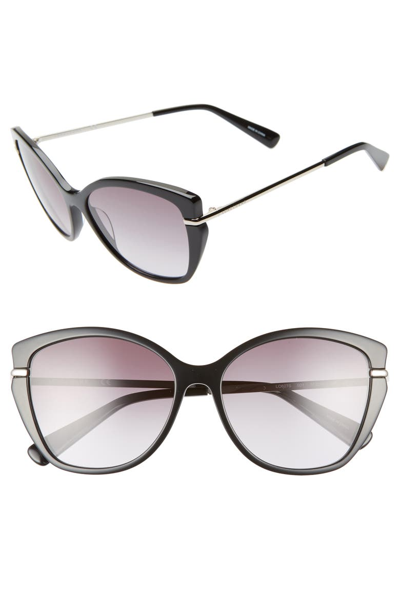 LONGCHAMP Heritage 57mm Butterfly Sunglasses, Main, color, BLACK