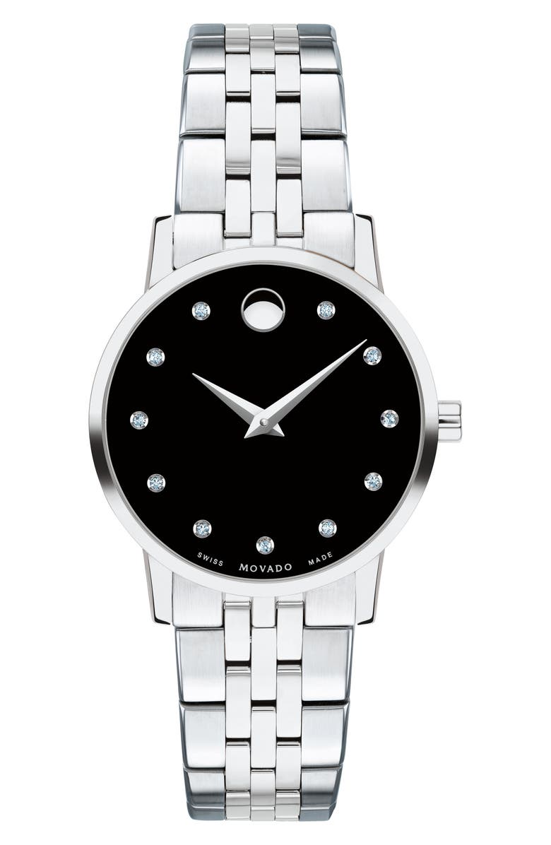 MOVADO Museum Classic Diamond Bracelet Watch, 28mm, Main, color, 040