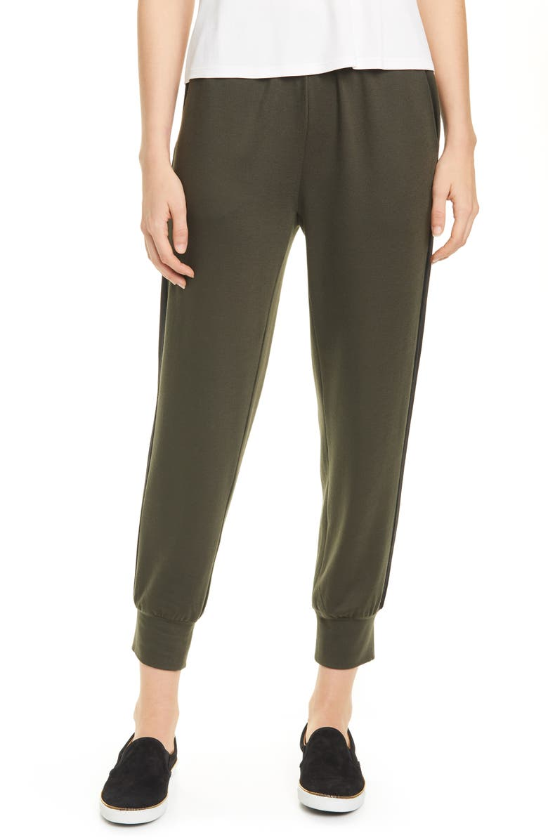 EILEEN FISHER Track Pants, Main, color, WOODLAND