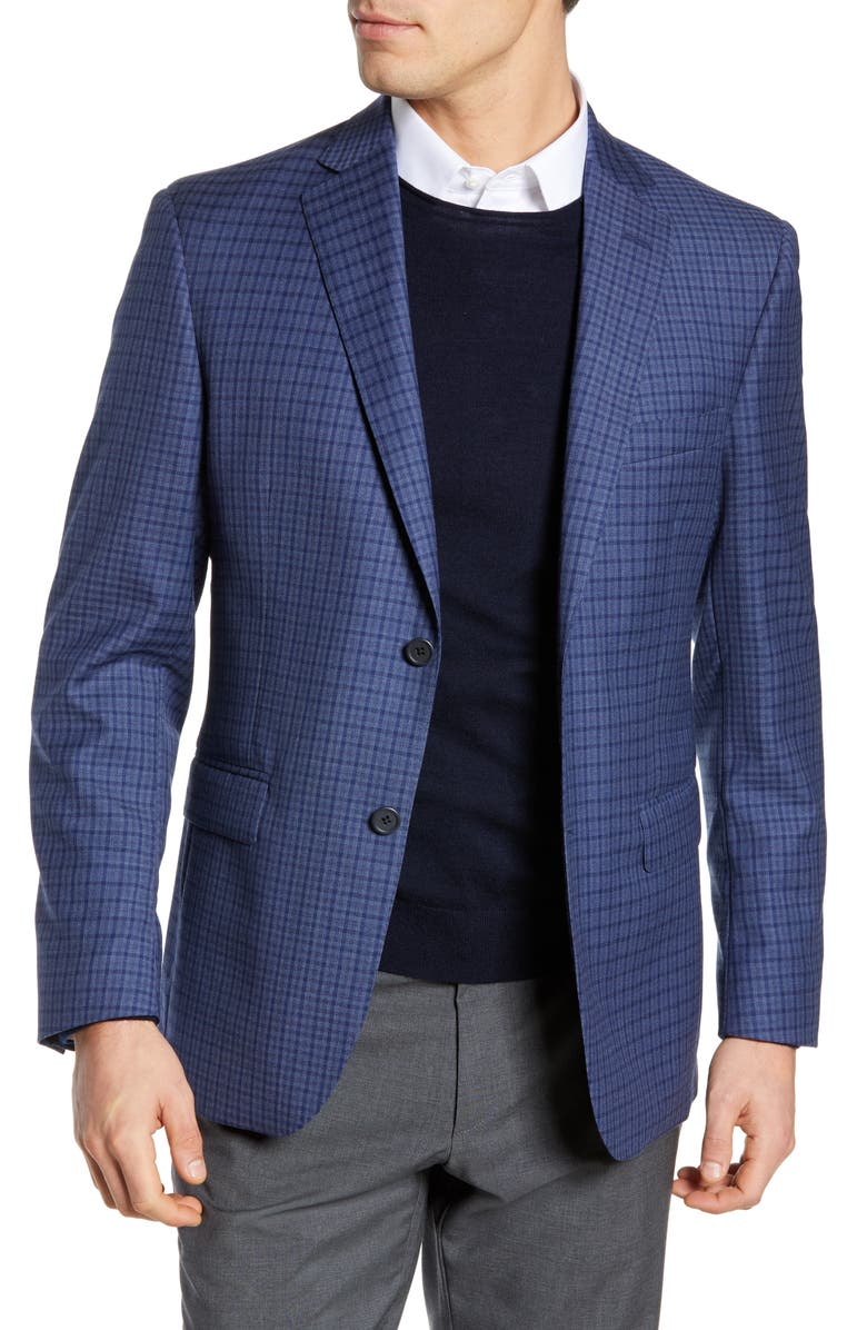 JB BRITCHES Classic Fit Check Sport Coat, Main, color, BLUE