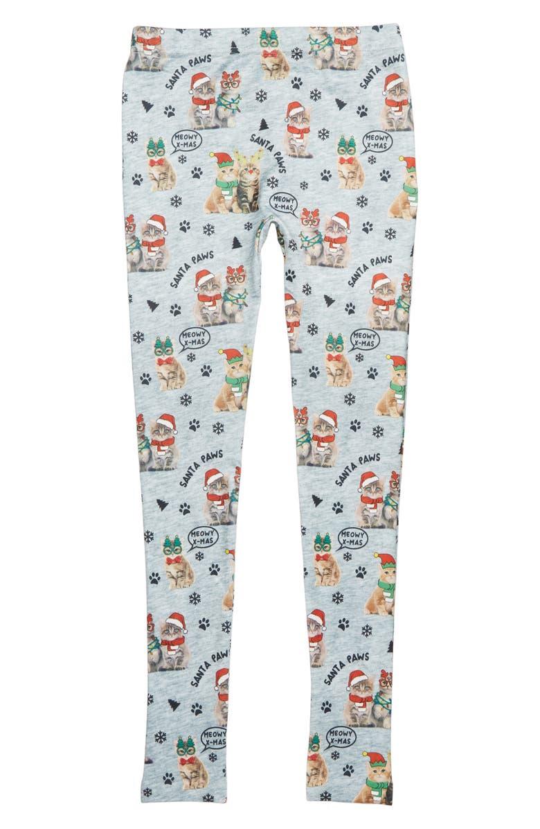 CAPELLI NEW YORK Cat Christmas Fleece Leggings, Main, color, 020