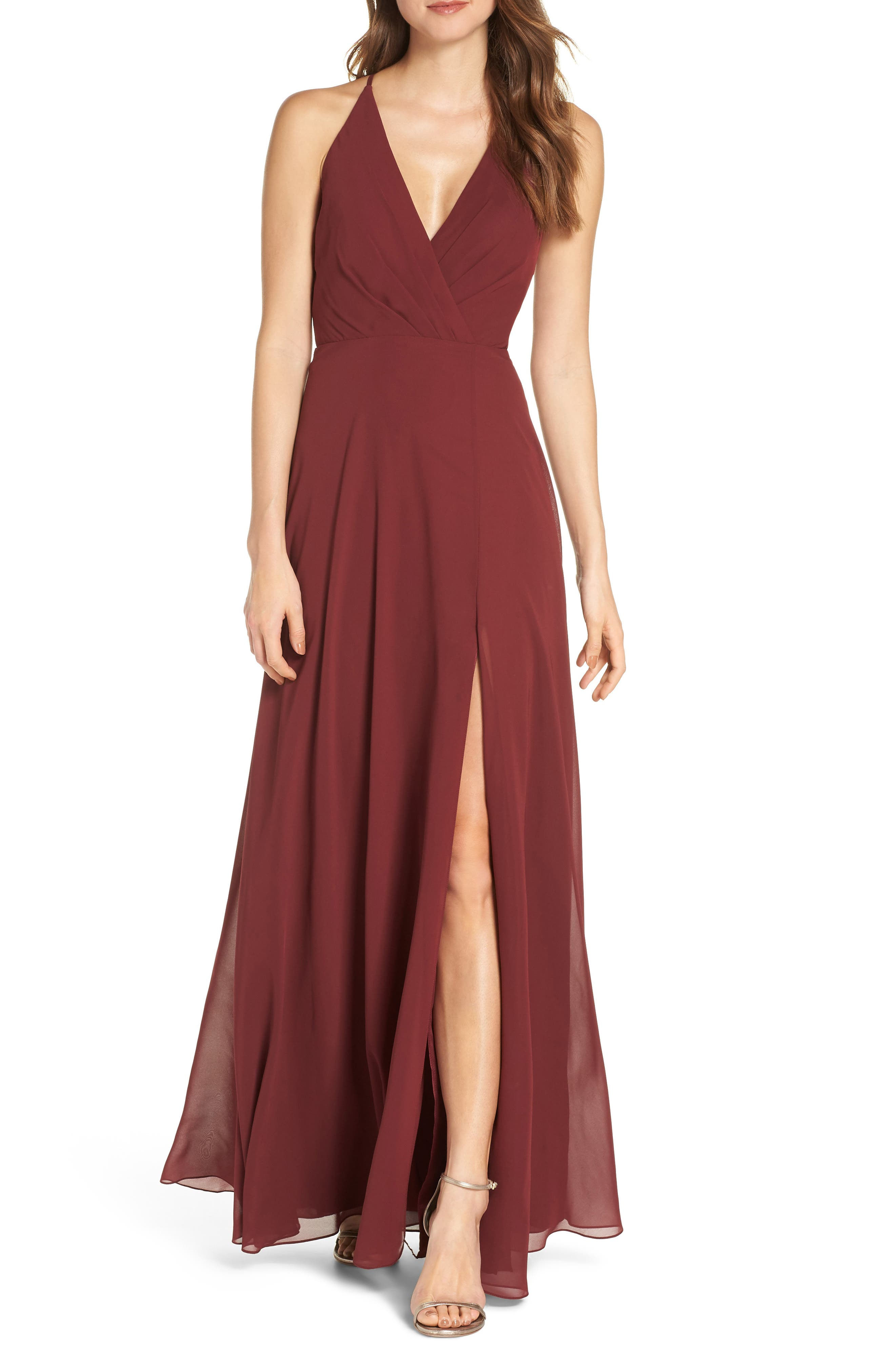 Jenny Yoo Bryce Surplice V-Neck Chiffon Evening Dress, Red