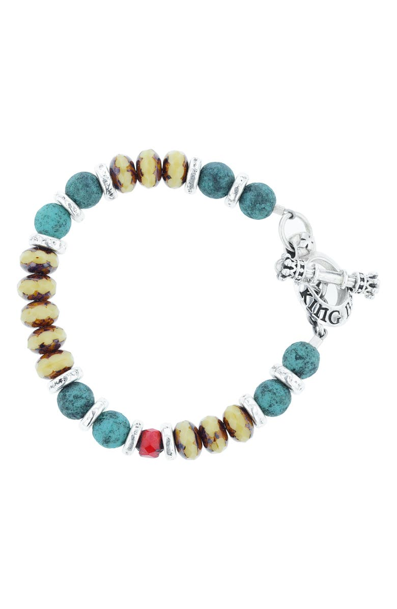 KING BABY American Voices Ceramic & Glass Bead Bracelet, Main, color, TURQUOISE