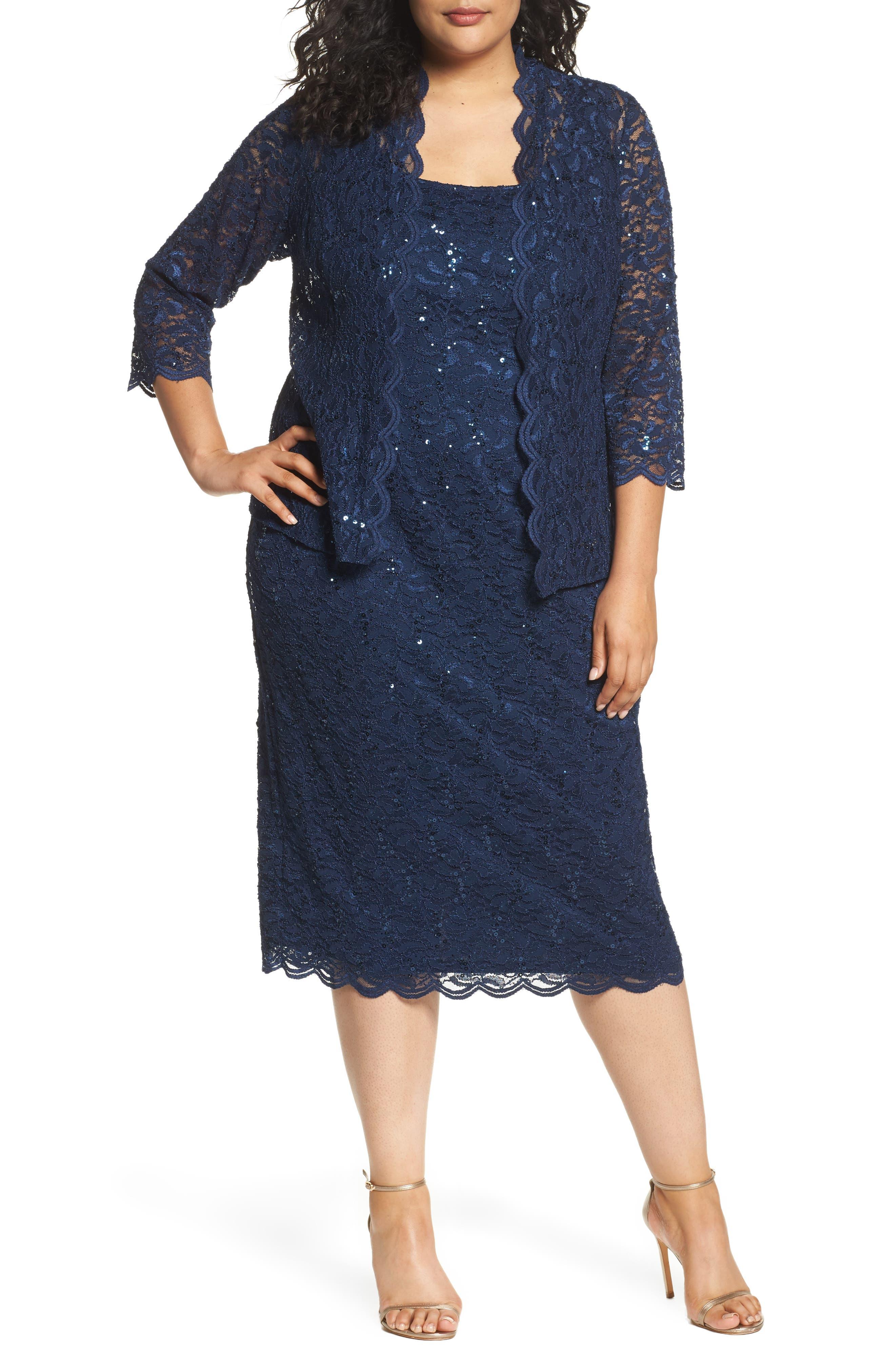 1960s Evening Dresses, Bridesmaids, Mothers Gowns Plus Size Womens Alex Evenings Lace Dress  Jacket Size 16W - Blue $189.00 AT vintagedancer.com