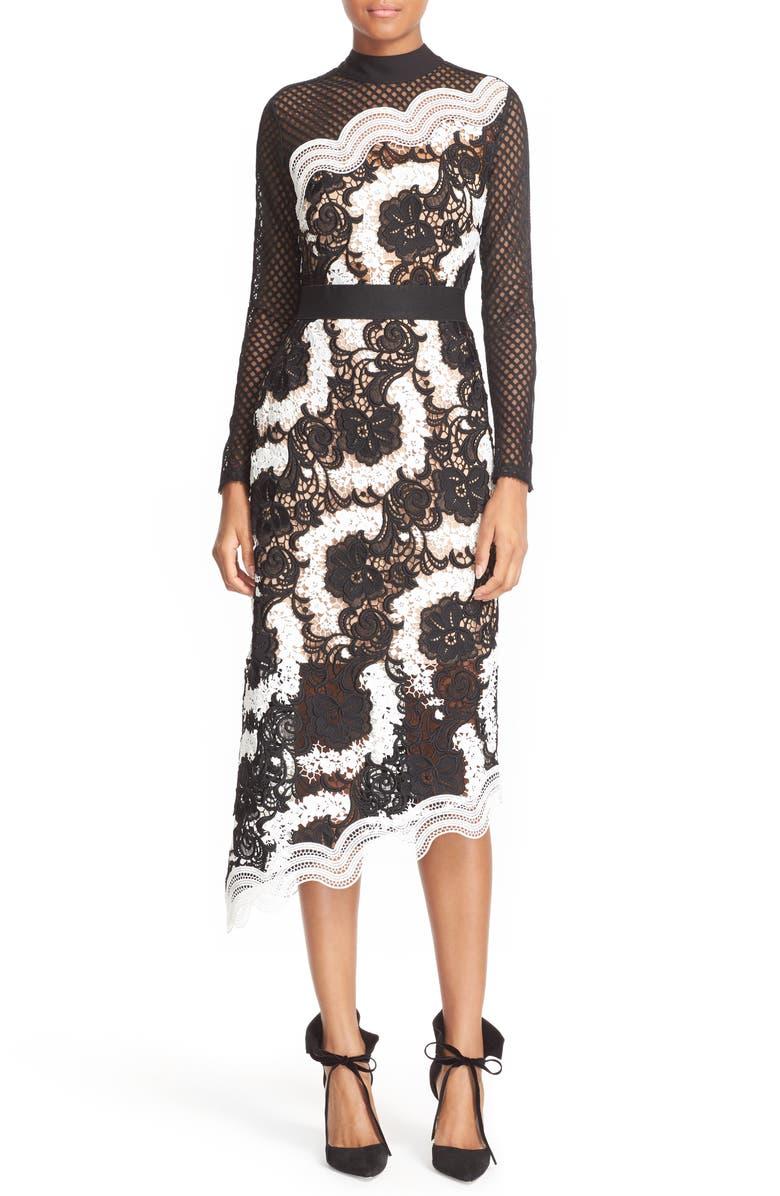 SELF-PORTRAIT Asymmetrical Lace Midi Dress, Main, color, 001