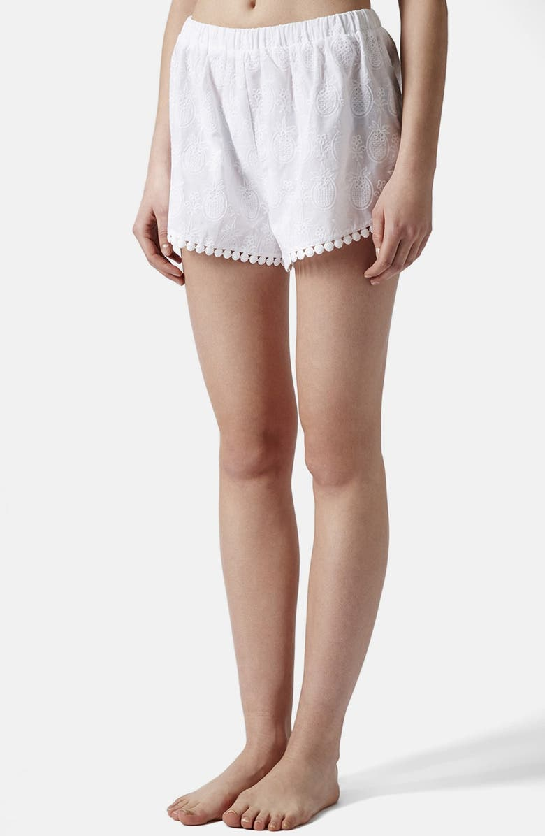 TOPSHOP Pineapple Embroidered Cotton Shorts, Main, color, 100