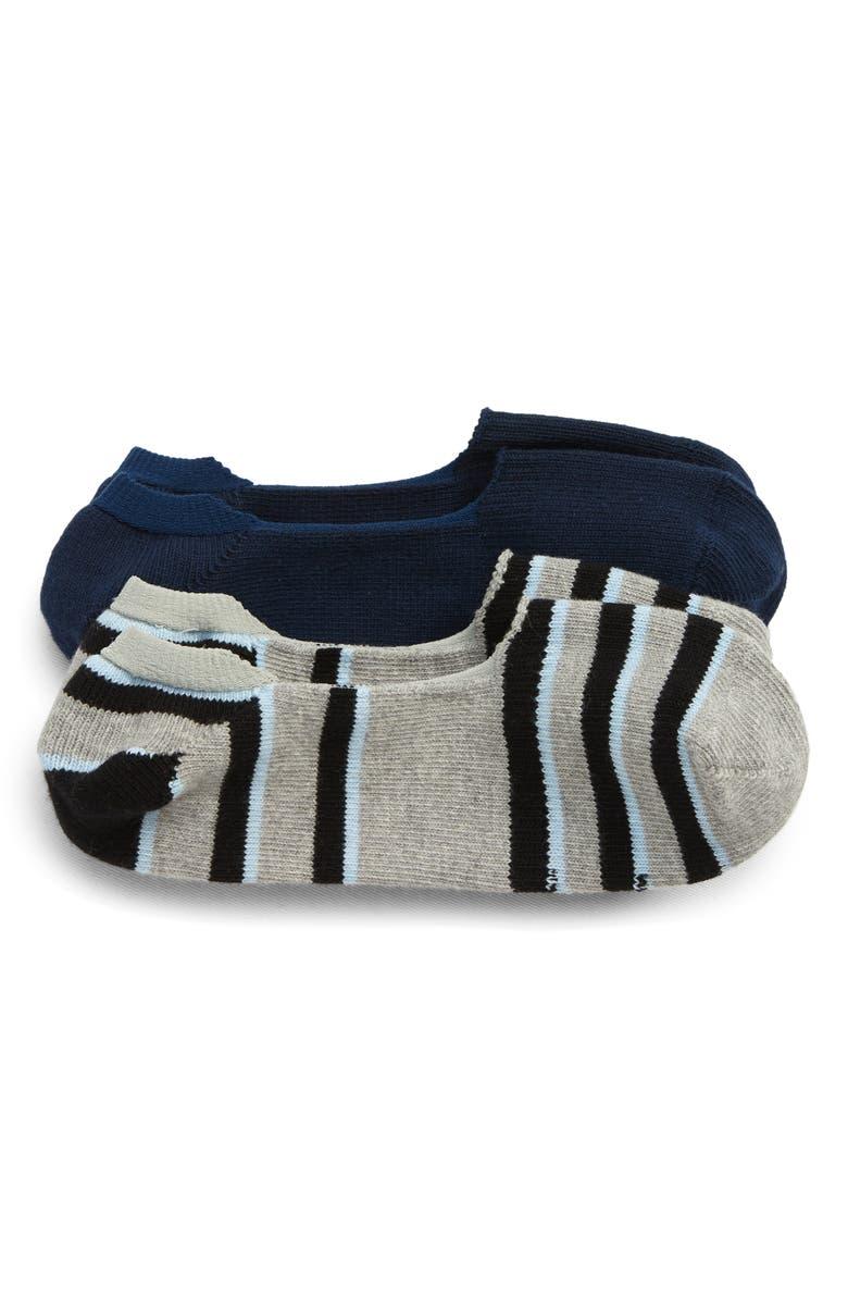 NORDSTROM MEN'S SHOP 2-Pack Loafer Liner Socks, Main, color, GREY/ NAVY