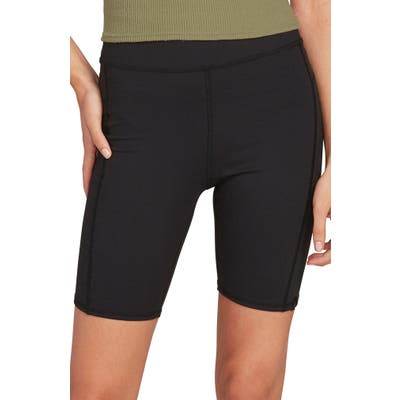 Volcom Lil High Waist Bike Shorts, Black