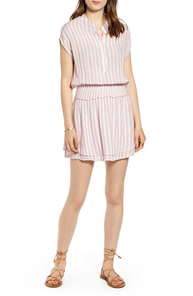 RAILS Angelina Smocked Waist Minidress, Main, color, ROSE STRIPE