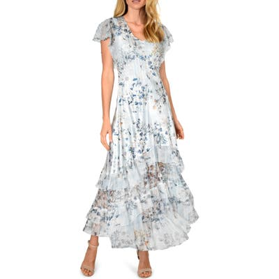 Komarov Tiered Hem Maxi Dress, Blue