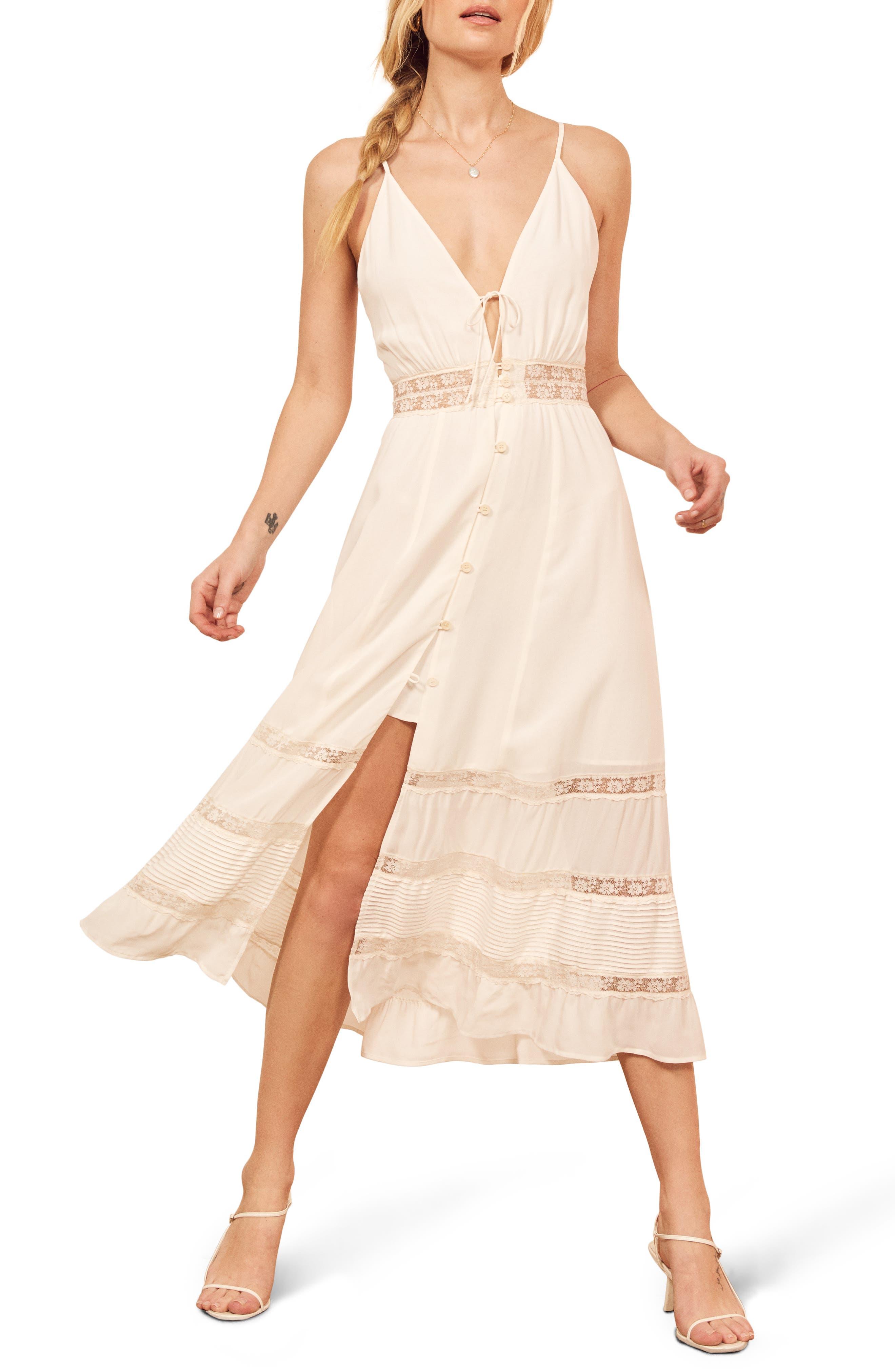 Reformation Shelley Sleeveless Lace Midi Dress, White