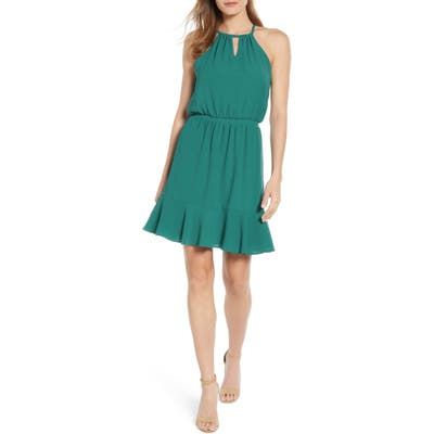 Petite Gibson X Living In Yellow Calla Keyhole Halter Neck Dress, Green (Regular & Petite) (Nordstrom Exclusive)