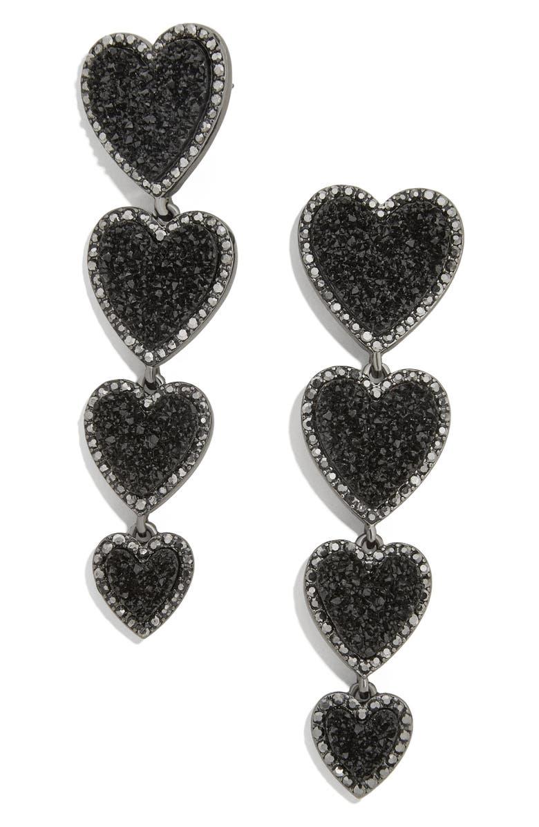 BAUBLEBAR Louis Heart Linear Earrings, Main, color, BLACK