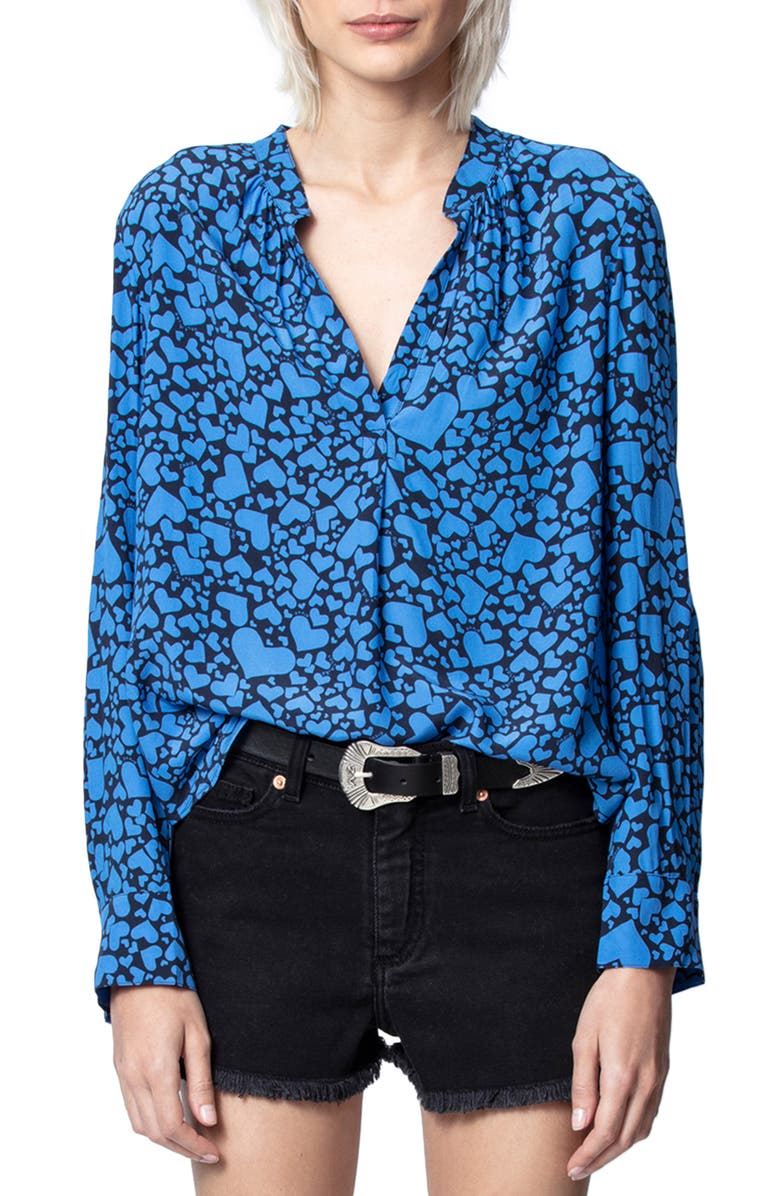 ZADIG & VOLTAIRE Tink Heart Print Long Sleeve Blouse, Main, color, 474