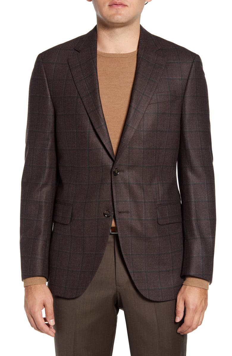 PETER MILLAR Flynn Classic Fit Windowpane Silk & Wool Sport Coat, Main, color, BROWN