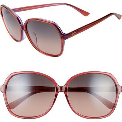 Maui Jim Taro 5m Polarizedplus2 Round Sunglasses - Pink W/ Lilac/ Maui Rose