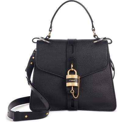 Chloe Aby Medium Leather Shoulder Bag - Black