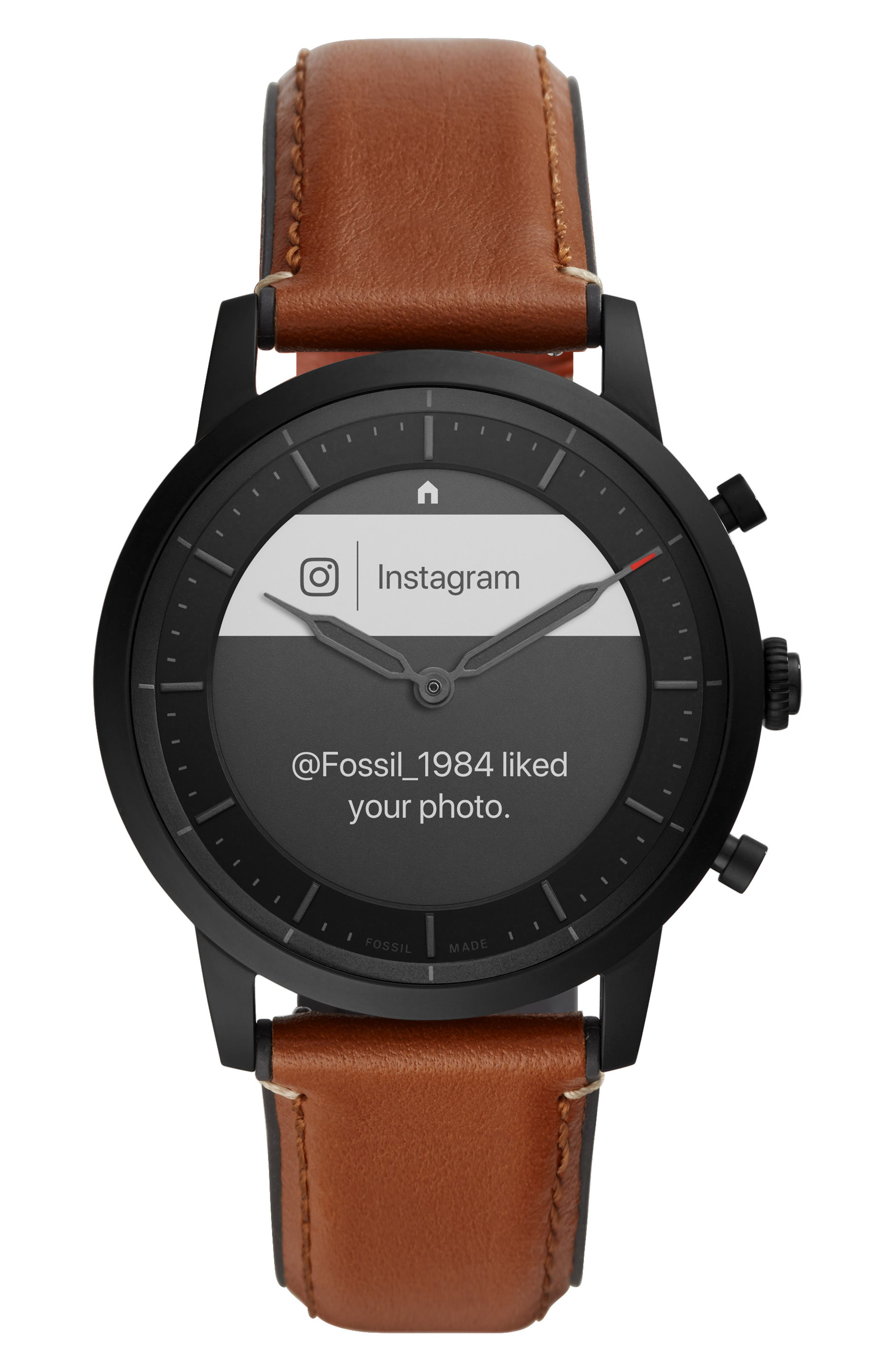 Collider Hybrid Hr Chronograph Leather Strap Smart Watch