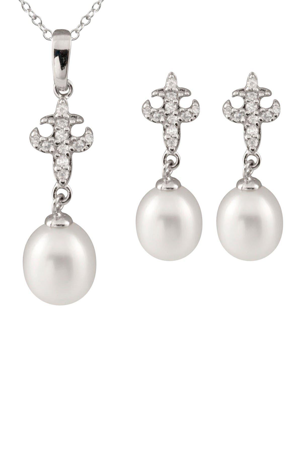 Image of Splendid Pearls 7-8mm Freshwater Pearl Fleur-de-Lis Necklace & Earrings Set