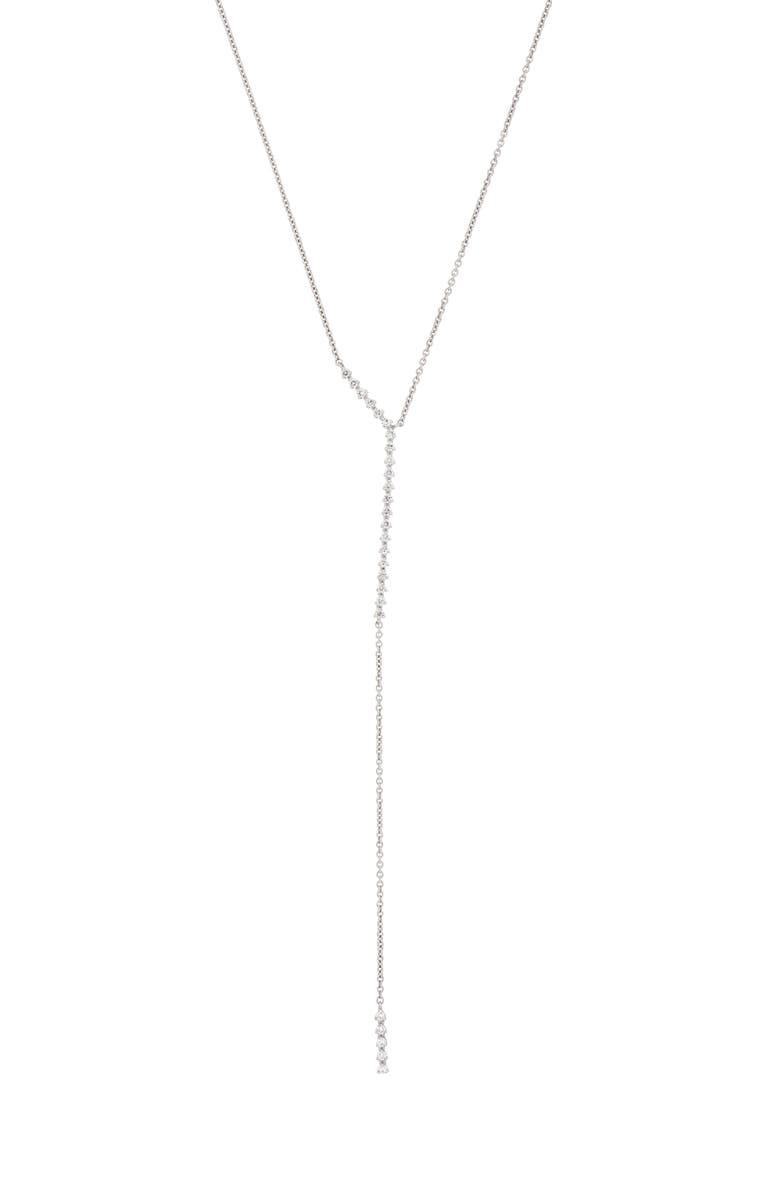 BONY LEVY Liora Asymmetrical Y-Necklace, Main, color, WHITE GOLD/ DIAMOND
