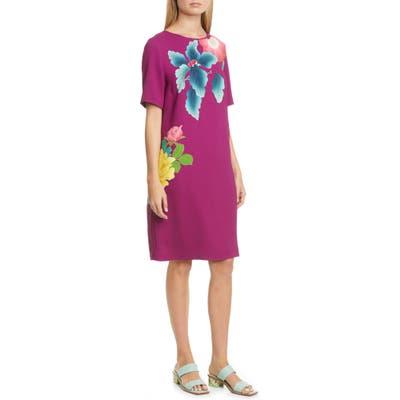 Etro Floral Print Stretch Cady Shift Dress, US / 42 IT - Pink